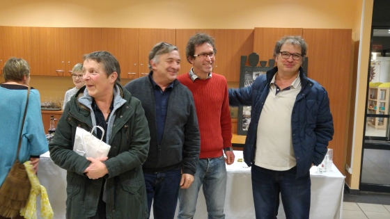 Béné et Max (à gauche) et Denis (à droite), aux côtés de Mathieu