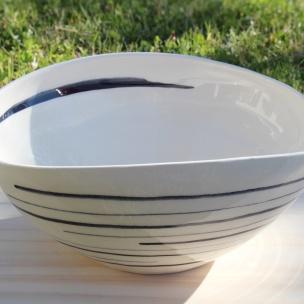 Dans la boîte noire - Virginie Deruelle - Céramique - saladier lignes